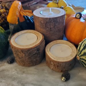 Rustic Wooden Candle Holders (3)
