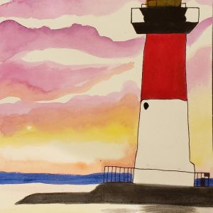 Water Color Painting – Lighthouse on the Coast