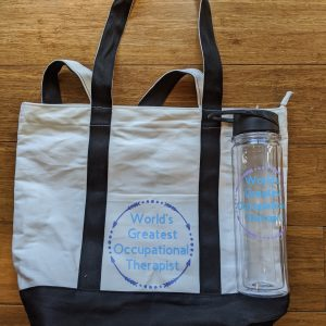 Water bottle and tote bag